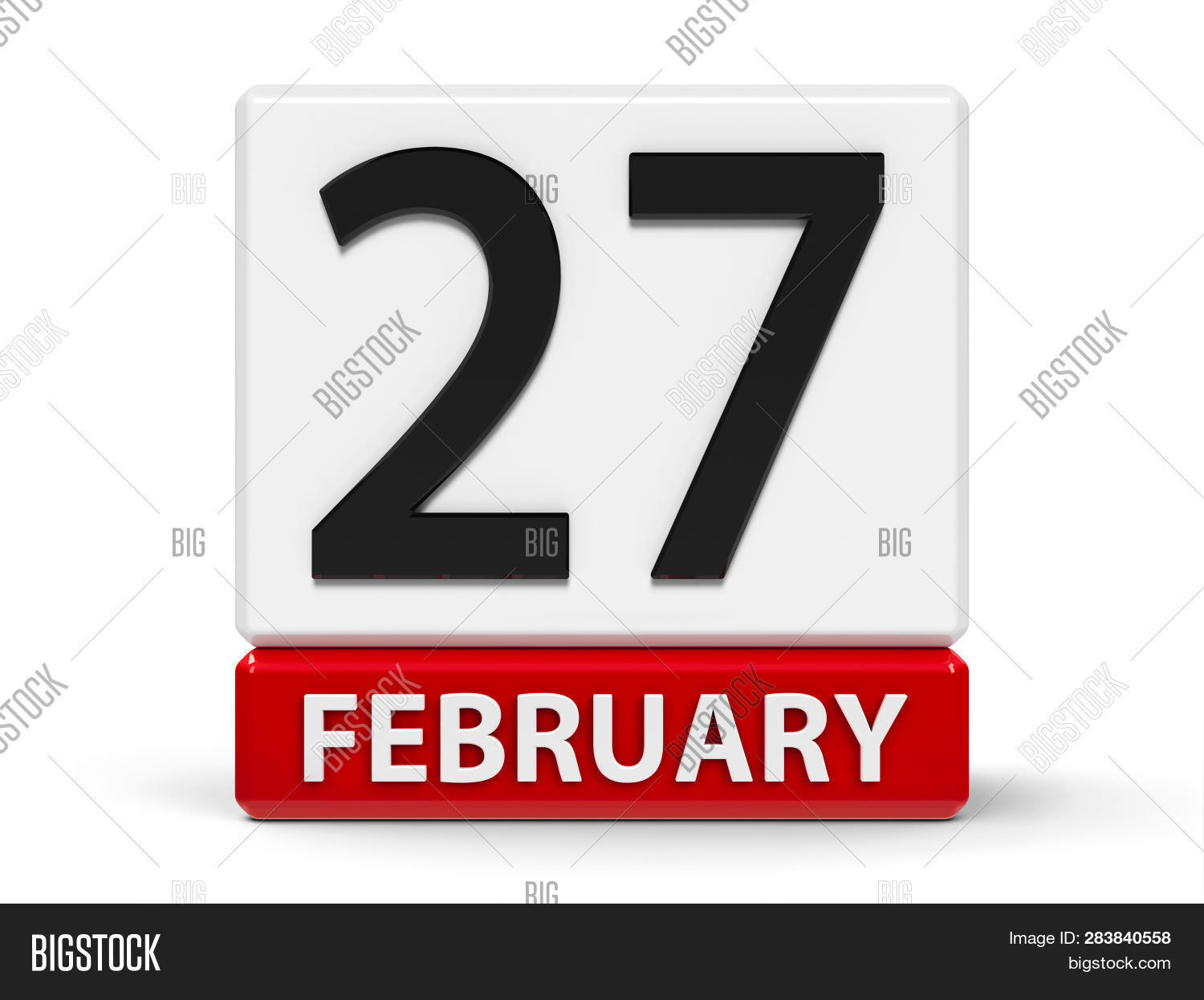 Red And White Calendar Icon From Cubes - The Twenty Seventh Of February - On A White Table - Interna