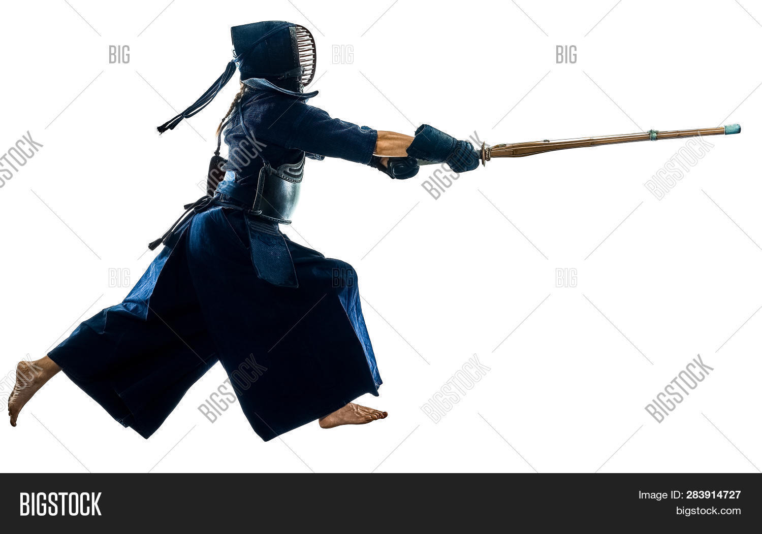 actions,adult,combat sport,cut out,full length,isolated,japanese,kendo,martial arts,one,one person,people,shadow,side view,silhouette,sport,studio shot,white background