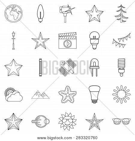 Flash icons set. Outline set of 25 flash icons for web isolated on white background stock photo