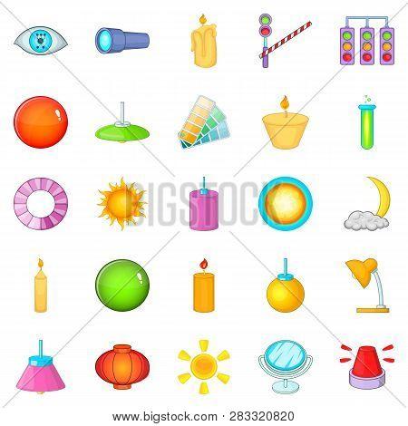 Lighting icons set. Cartoon set of 25 lighting icons for web isolated on white background stock photo