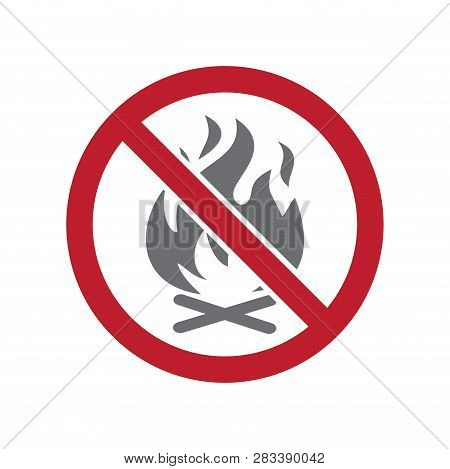 No fire allowed sign on white background for graphic and web design, Modern simple vector sign. Internet concept. Trendy symbol for website design web button or mobile app stock photo