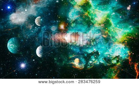 Universe scene with planets, stars and galaxies in outer space showing the beauty of space exploration. Galaxy in space, beauty of universe, black hole. deep space many light years far from the Earth. Elements furnished by NASA stock photo