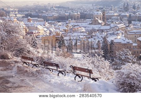 Winter panorama of snow covered Prague Mala Strana - Lesser Town from  Petrin hill viewpoint. Concept: Winter travel to Prague, Travel Blogging, Winter Europe stock photo