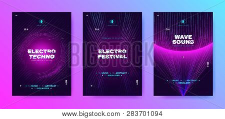 Abstract Music Poster with Distorted Wave Lines. Electronic Sound Event, DJ Party Flyer. Banner in Purple Neon for Techno Music Festival. Wave Technology Background with 3d Round. House Music Concept. stock photo
