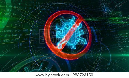 Antivirus symbol on binary background with digital worm ban. Abstract 3D illustration of cyber protection icon. stock photo