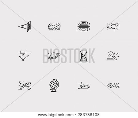 Physics icons set. Optical physics and physics icons with experiments in physics, laser device and geographic globe. Set of mechanical for web app logo UI design. stock photo