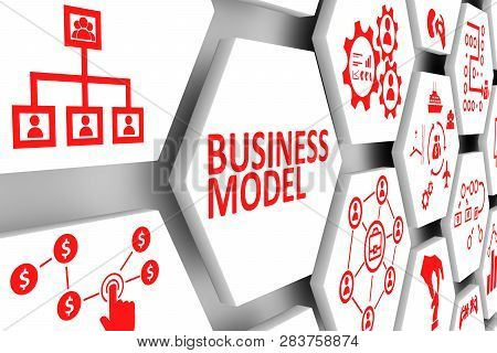 BUSINESS MODEL concept cell background 3d illustration stock photo