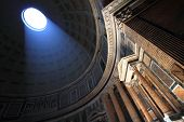 Interior perspective of the vault of the Pantheon in Rome, Italy