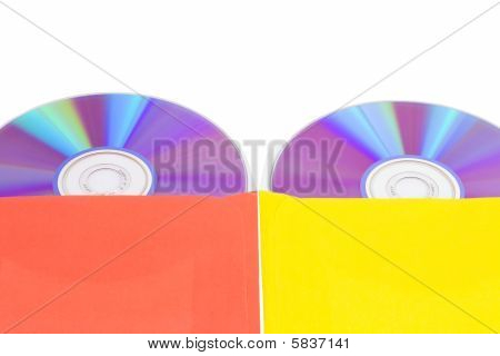 Disks in multi-colored envelopes isolated on a white background stock photo