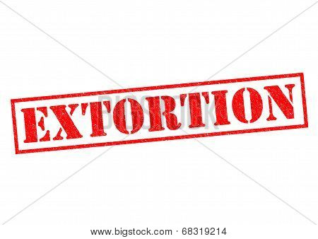 EXTORTION red Rubber Stamp over a white background. stock photo