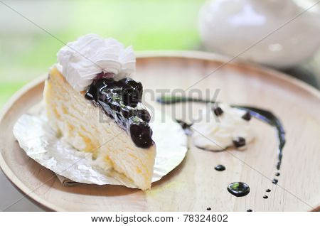 blueberry cheesecake recipe dish on the table stock photo