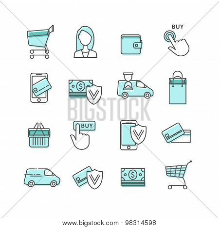 Shopping and e-commerce. Web store. Shopping cart, assistance, payment, buy now, money, protected, delivery, shopping basket, shopping bag - lines web icons set. stock photo