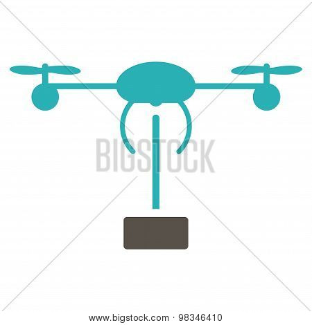 Copter shipment icon from Business Bicolor Set. Vector style: flat bicolor symbols, grey and cyan colors, rounded angles, white background. stock photo