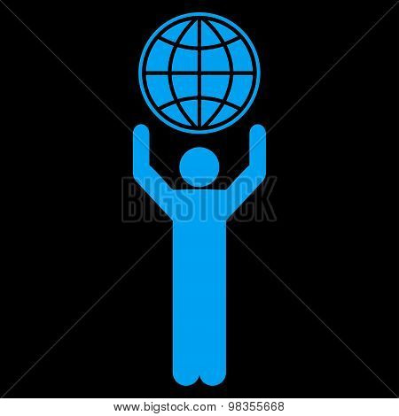 Globalist icon from Business Bicolor Set. Vector style: flat symbols, blue color, rounded angles, black background. stock photo
