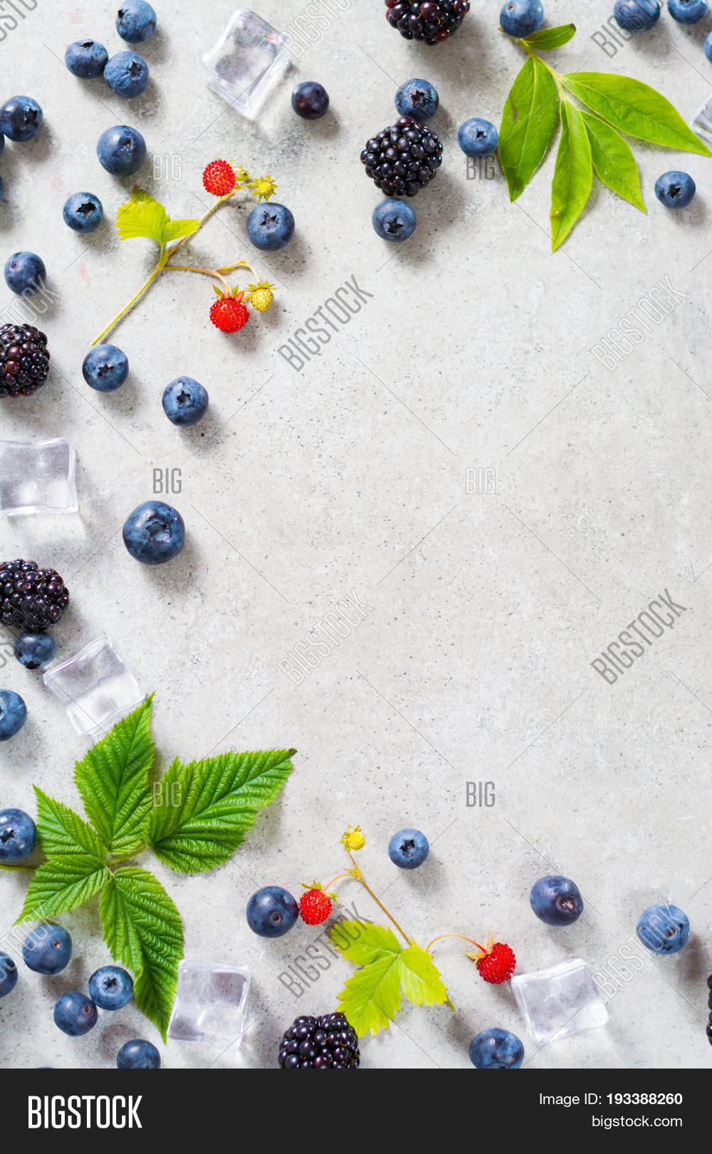 Fresh summer wild blueberries and brambleberry strawberry and ice cubes