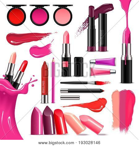 Lip makeup beauty accessoires realistic collection with lipstick gloss balm liner high-shine intense colors vector illustration stock photo