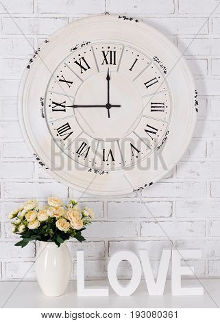 Wooden Letters Forming Word Love, Flowers In Vase And Vintage Clock Over White Brick Wall-Dishwasher Magnet Skin (size 24x24)