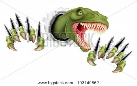 A Tyrannosaurus Rex T Rex dinosaur scratching, ripping and tearing out of the background with its claws stock photo
