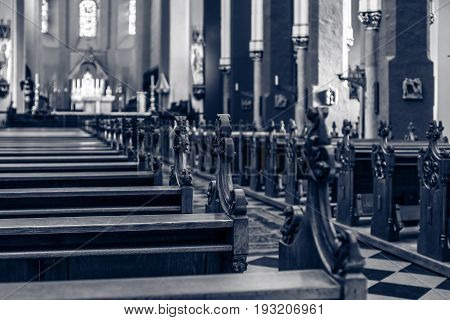 Church Pews. Toning. Focus on the foreground. stock photo