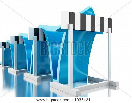 3d illustration. Arrow jumping over hurdles. Success in business. Isolated white background. stock photo