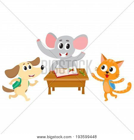 Cute animal students - elephant, cat and dog, back to school concept, cartoon vector illustration isolated on white background. Animal students, elephant at school desk, cat and dog hurrying to class
