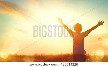 Little boy raising hands over sunset sky, enjoying life and nature. Happy Kid on summer field lookin