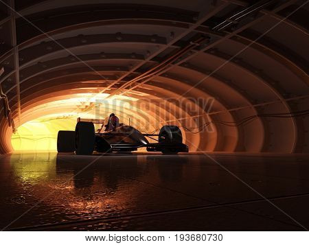 Sports car in the tunnel..3d render stock photo