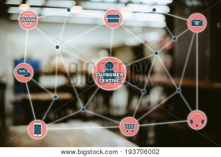 Concept of consumer centric marketing and omni channel retailing. stock photo