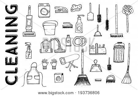 Cleaning Tools. Cleaning service. Cleaning supplies Isolated on White Background. Hand Drawn Cleaning products. stock photo