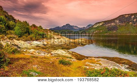 Gorgeous landscape of Patagonia's Tierra del Fuego National Park in Autumn Argentina stock photo