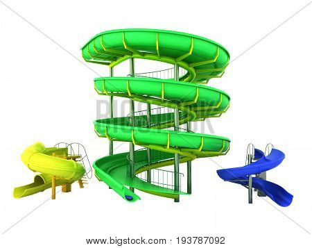 Waterpark slides green yellow blue 3d rendering on white background no shadow stock photo