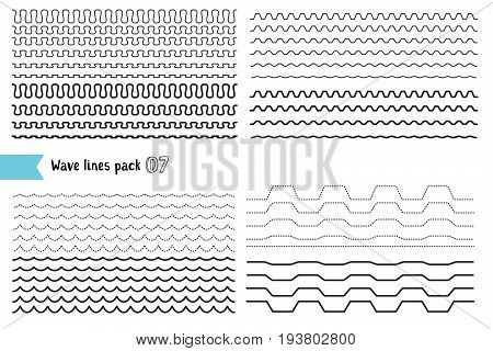 Vector collection of different wave with a very strong vibration amplitude and different line thicknesses. Big set of wavy - curvy and zigzag - criss cross horizontal lines. Wave line for design of decorative border divider. Graphic design elements variat stock photo
