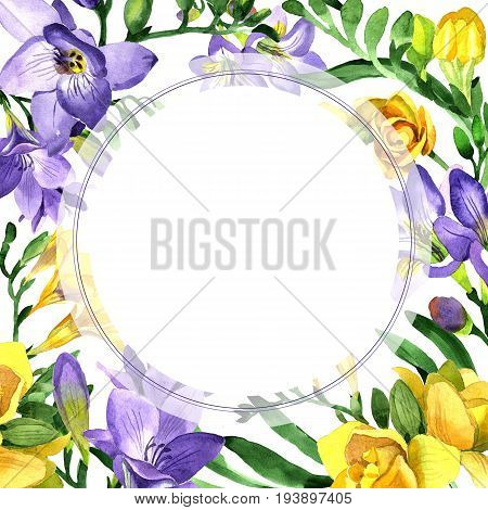 Wildflower fresia flower frame in a watercolor style. Full name of the plant: fresia. Aquarelle wild flower for background, texture, wrapper pattern, frame or border. stock photo