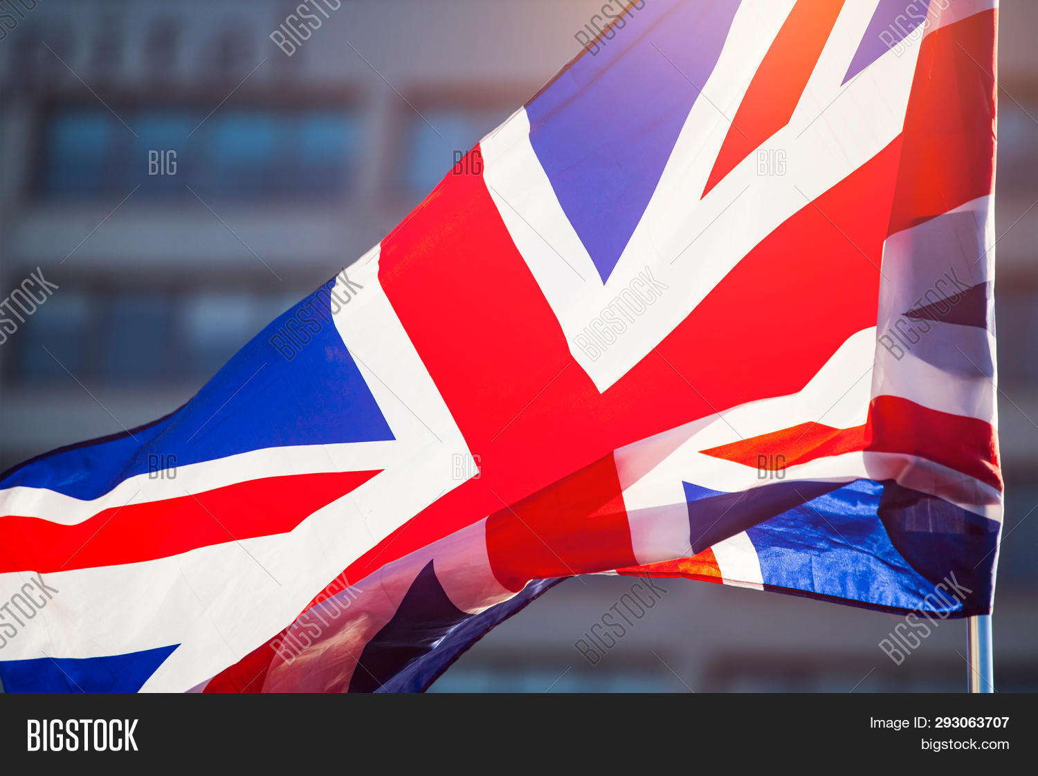 Brexit concept - UK economy after Brexit deal -  double exposure of EU flag and London business cent