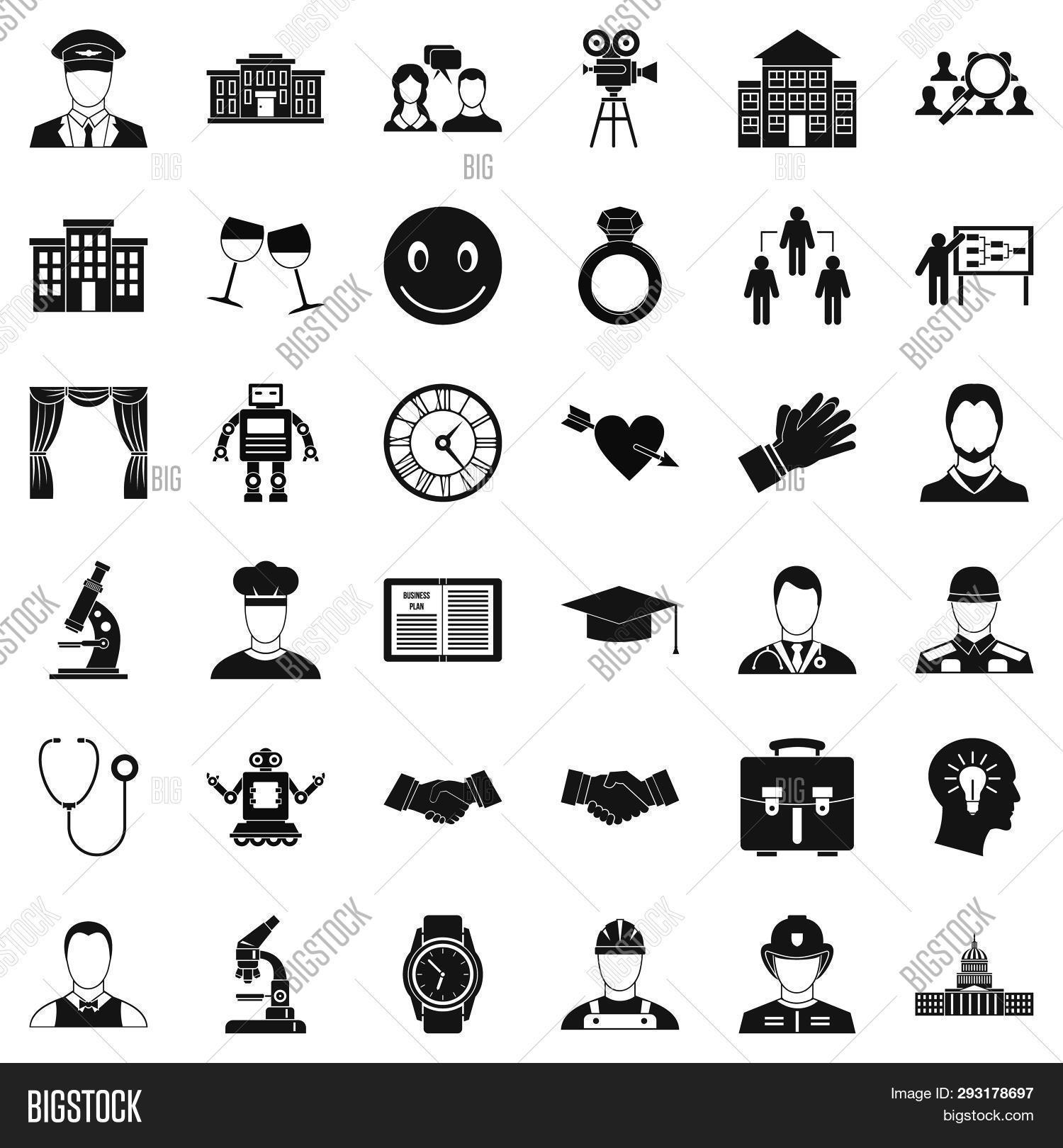 Applause Icons Set. Simple Style Of 36 Applause Icons For Web Isolated On White Background