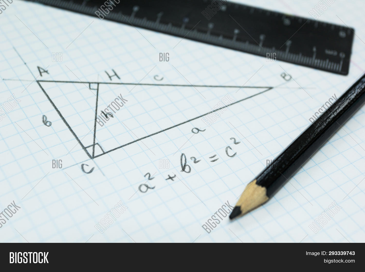Geometry, The Pythagorean Theorem In A School Notebook.