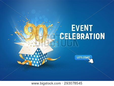 90 th years anniversary banner with open burst gift box. Template ninetieth birthday celebration and abstract text on blue background vector illustration stock photo