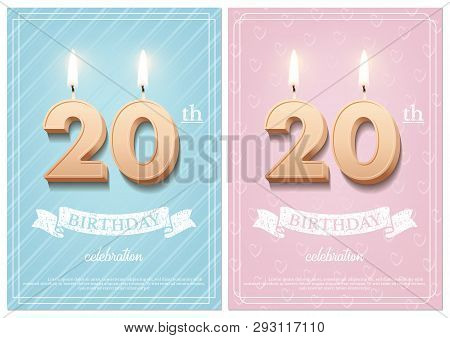 Burning Number 20 Birthday Candles With Vintage Ribbon And Birthday Celebration Text On Textured Blu