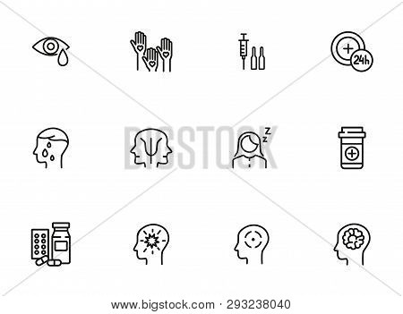 Mental health icon set. Psychology concept. Vector illustration can be used for topics like apothecary, pharmaceuticals, medicine stock photo
