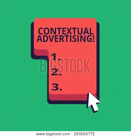 Word writing text Contextual Advertising. Business concept for method for targeting ads appearing on websites Direction to Press or Click the Red Keyboard Command Key with Arrow Cursor. stock photo