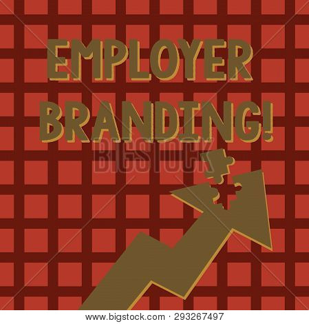 Writing note showing Employer Branding. Business photo showcasing process promoting company of choice desired target group Arrow Pointing Up with Detached Part Jigsaw Puzzle Piece. stock photo