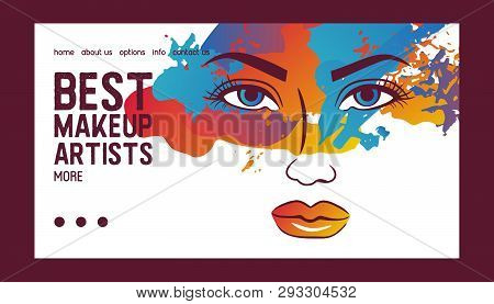 Woman face banner web vector illustration. Beauty design for salon, make up artist courses training. Cosmetic products, professional care. School for beautician. Masterclass. stock photo