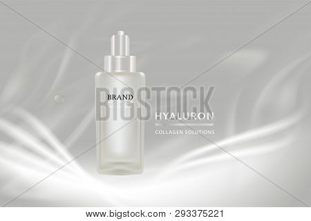 Beauty product, white cosmetic container with advertising background ready to use, luxury skin care ad, illustration vector. stock photo