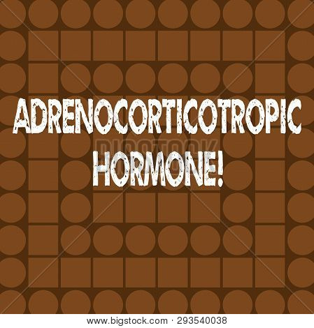 Word writing text Adrenocorticotropic Hormone. Business concept for hormone secreted by pituitary gland cortex Combination of Brown Squares and Circles Forming Concentric Style Pattern. stock photo
