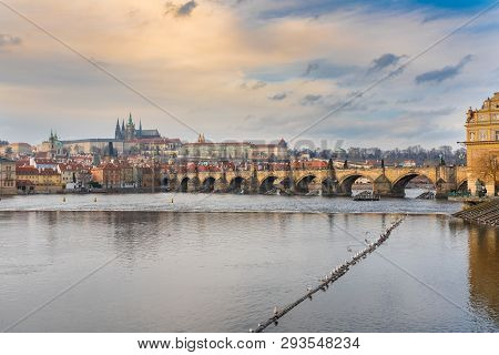 Prague, Czech republic. Charles Bridge (Karluv most) is a stone Gothic bridge that connects the Old Town and Lesser Town (Mala Strana). stock photo
