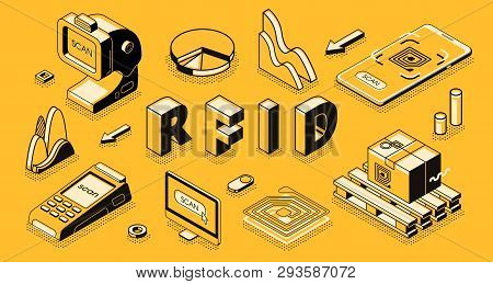 Radio frequency identification technology isometric vector concept with RFID reader or scanner, electromagnetic track tag on cardboard box, mobile app for business delivery, goods shipment tracking stock photo