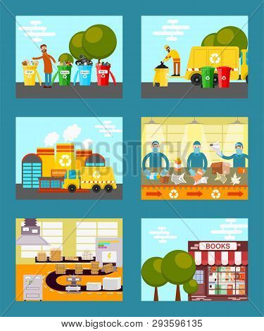 Recycle garbage, save ecology concept cards vector illustration. People throwing trash into recycle bins. Waste paper recycling. Sorting things in factory. Reusing paper for new books. stock photo