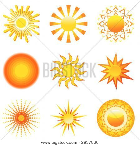 Set of nine different yellow sun icons stock photo