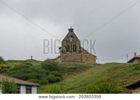 Bullring of the church of San Felices de Castilleria. Palencia stock photo