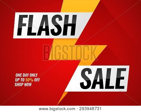 Flash sale. Flashes blitz mega new deals buy shop sales offer poster hot price promo trendy sticker lightning bolt arrow vector banner with thunder stock photo